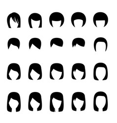 Set of hairstyle silhouette vector