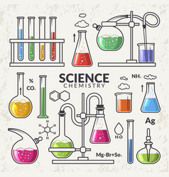 set of icons on a theme science vector image