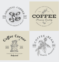 Set of vintage coffee logo and vector