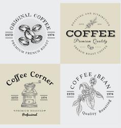 set vintage coffee logo and vector image