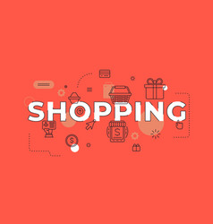 shopping text concept modern flat style vector image