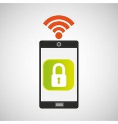 smartphone padlock internet wifi icon vector image