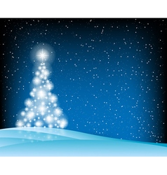 Stars christmas tree blue vector