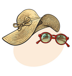 Straw hat with wide flaps and sunglasses in red vector