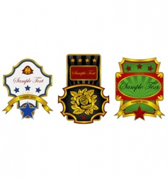 three labels decorated with gold vector image