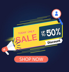 today only sale up to 50 discount shop now vector image