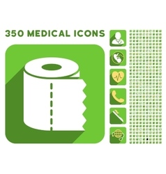 Toilet Paper Roll Icon and Medical Longshadow Icon vector image
