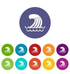 Tsunami wave set icons vector