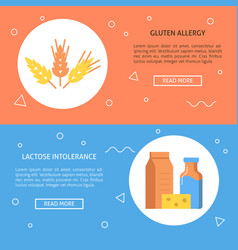 Types food allergy concept templates in flat vector