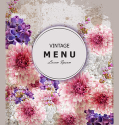 Vintage greeting card with peony and lilac flowers vector