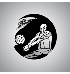 Volleyball player receive ball silhouette logo vector