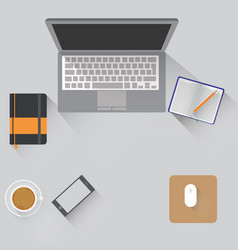 workspace with objects lying on a vector image vector image