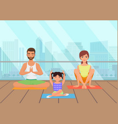 Young white people family meditating in fitness vector