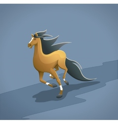 brown running horse with simple background vector image