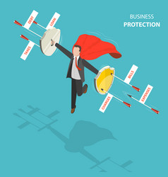 business protection flat isometric low poly vector image vector image
