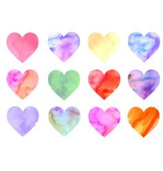 colorful watercolor hearts vector image vector image