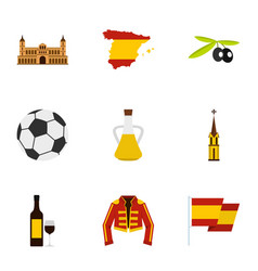 culture features of spain icons set flat style vector image vector image