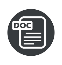 Monochrome round DOC file icon vector image