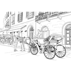 Sketch of a carriage in the street vector image