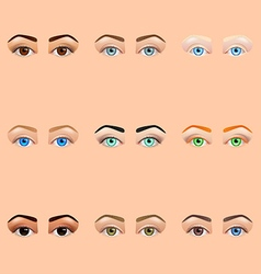 Female eyes and brows icons set vector image vector image