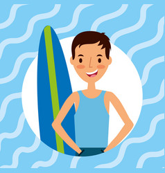 happy young man with surfboard vector image