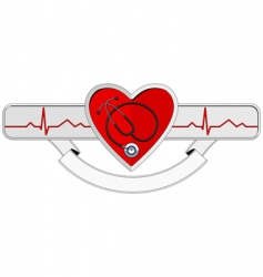 logo heart and stethoscope vector image vector image