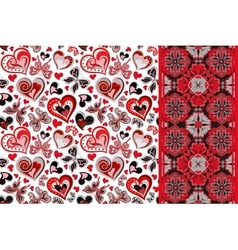pattern set with butterflies hearts and vector image vector image
