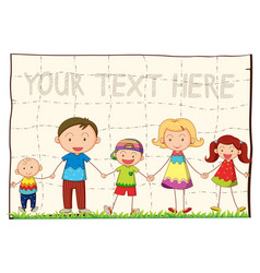 background template with happy family vector image