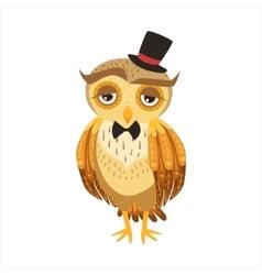 Gentleman Owl In Top Hat Cute Cartoon Character vector image