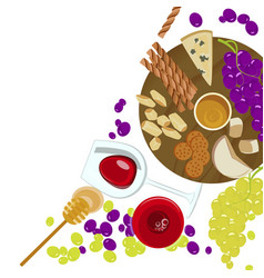 grapes honey cheese with glass of wine vector image vector image