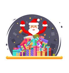 happy santa claus shopping pile goods christmas vector image vector image