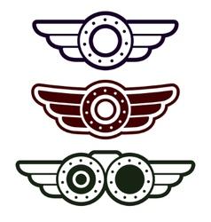 Steam punk emblem set vector image
