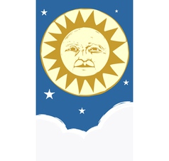 Sun Face and Clouds at night vector image vector image