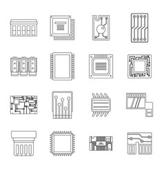 computer chips icons set outline style vector image