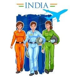 Women pilot on Indian background showing vector image