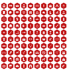 100 horsemanship icons hexagon red vector