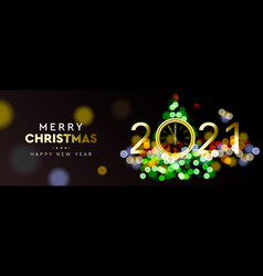 2021 new year christmas tree sparkle blur bokeh vector image
