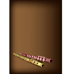 A Musical Flute on Dark Brown Background vector