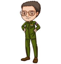 A simple pilot in green uniform vector image