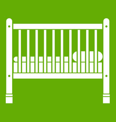 baby bed icon green vector image
