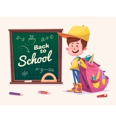 Back to school Cute schoolchild near supplies vector
