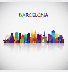 barcelona skyline silhouette vector image