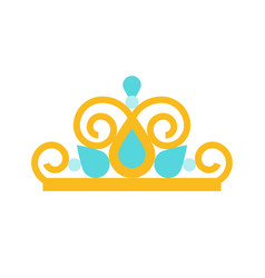 Beauty pageant crown jewelry related icon flat vector