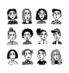 big set of gilrls avatars doodle style portraits vector image