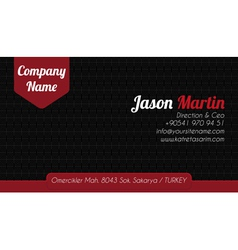 Black red corporate business card vector