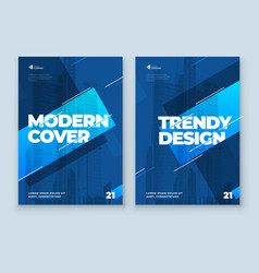 blue brochure design a4 cover template vector image