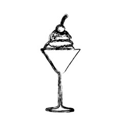 Blurred silhouette ice cream ball glass cup with vector