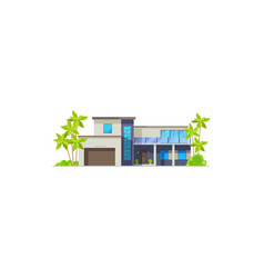 Bungalow house or villa resort hut and cottage vector