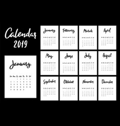 Calendar 2019 design template week starts from vector