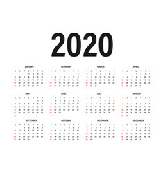 Calendar 2020 template calendar mockup design in vector
